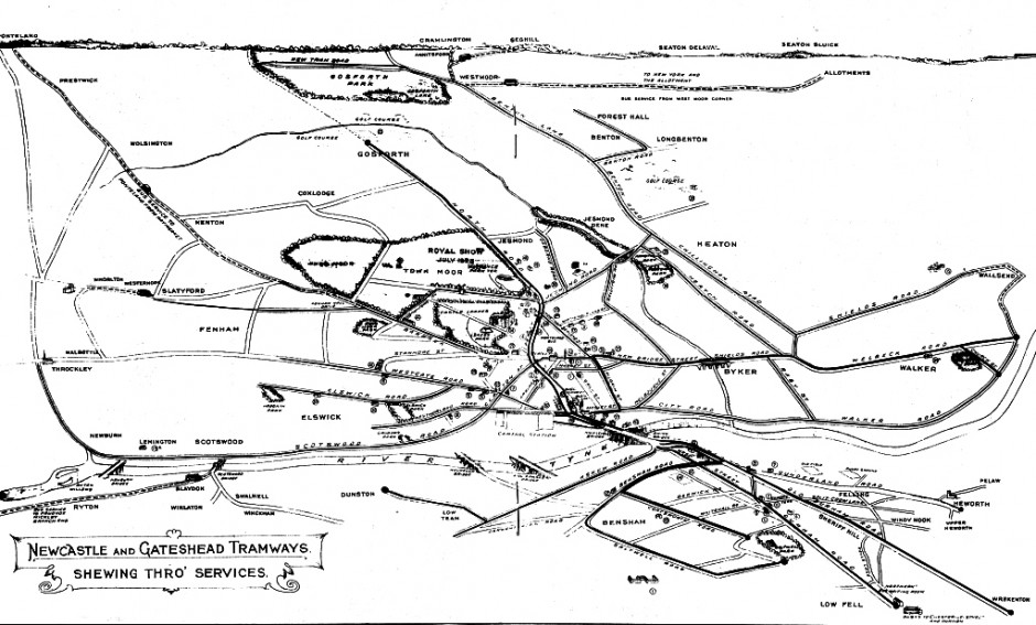 1933 map of tramlines in Newcastle and Gateshead
