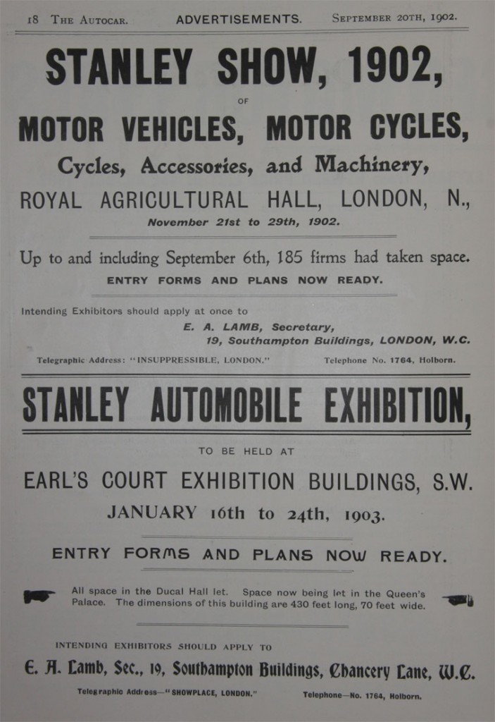 By 1902 the Stanley Show of Cycles had been almost wholly taken over by motor vehicles.