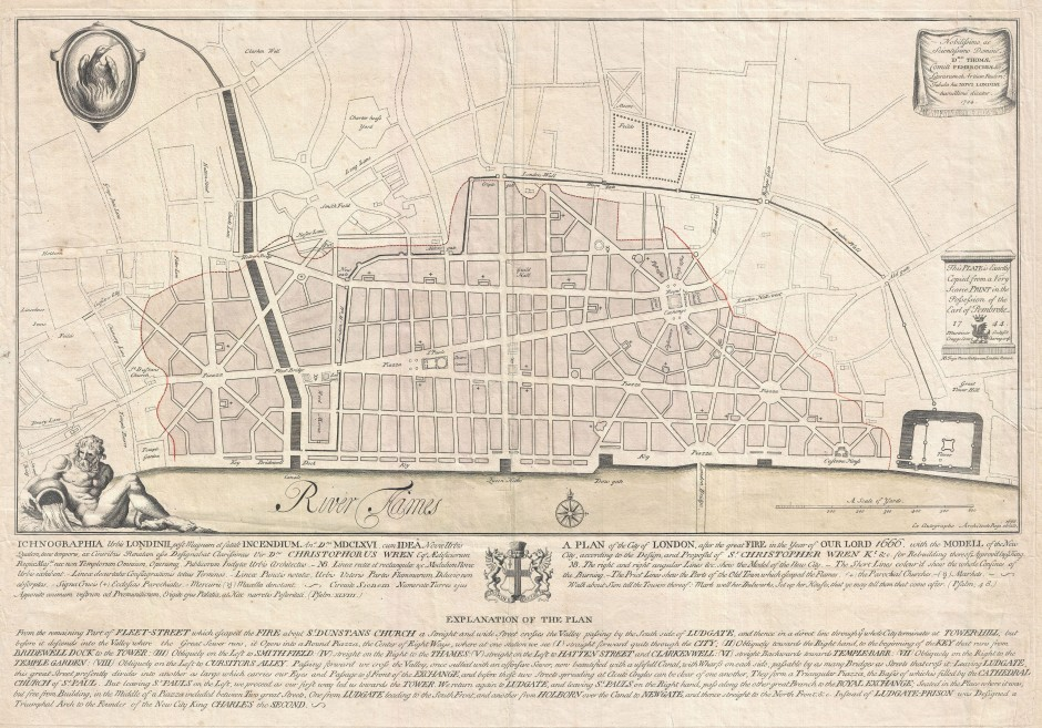 Sir Christopher Wren's post-1666 map of London. Despite claims from Wren and his son, the plan was never seriously considered. For a start it was topographically impossible. Click for huge version.