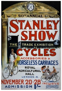 Stanley Show of Cycles, 1896. Cycles, and horseless carriages, too. 12 of them. Two had been displayed at the 1895 Stanley Show, the first time the British public were shown these new contraptions.