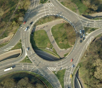Stevenage's grade-seperated roundabouts - with cycleways beneath - look a lot like similar roundabouts in the Netherlands. This is De Berenkuil, in Utrecht.