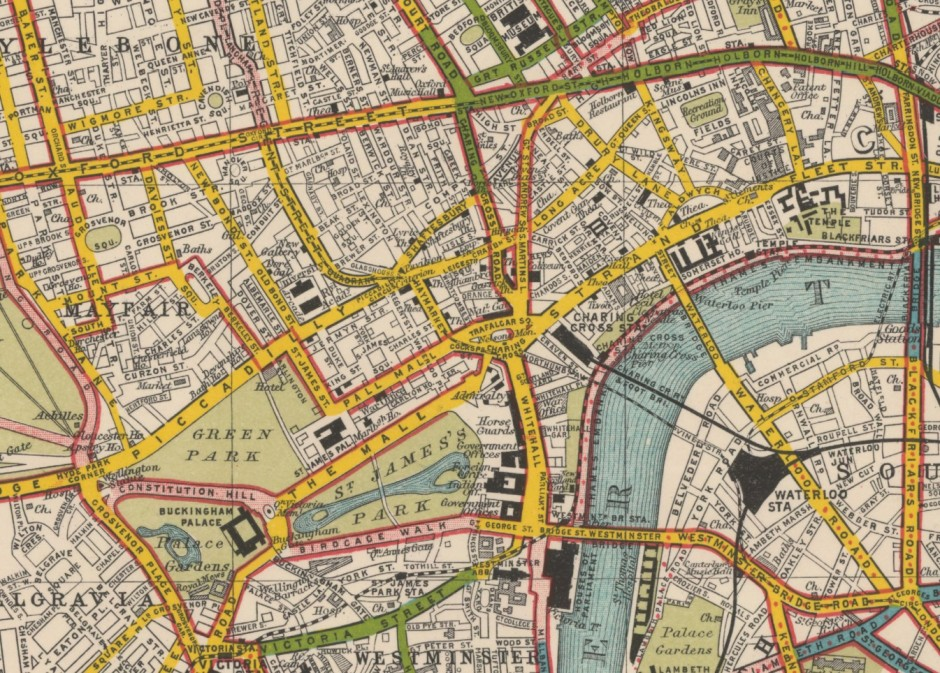 Bartholomew's Road Surface Map of London, 1922
