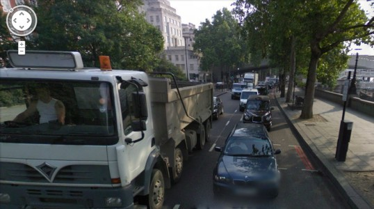 Thames Embankment today, not at all disfigured by motor vehicles... Image: Google Maps.