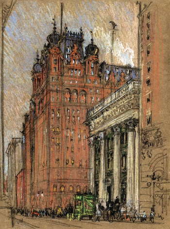 The original Waldorf-Astoria. 1904 sketch by tricycle touring artist Joseph Pennell.