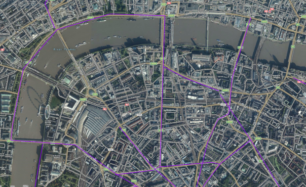 Central London's tramlines, via Sharemap.org.